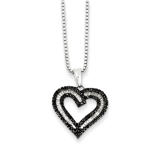 Sterling Silver White Baguette and Black Diamond Heart Pendant Necklace