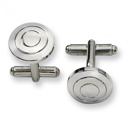 Round Concentric Circles Polished Stainless Steel Cufflinks