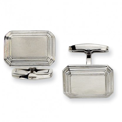 Rectangular Stainless Steel Brushed & Polished Cufflinks - Engravable