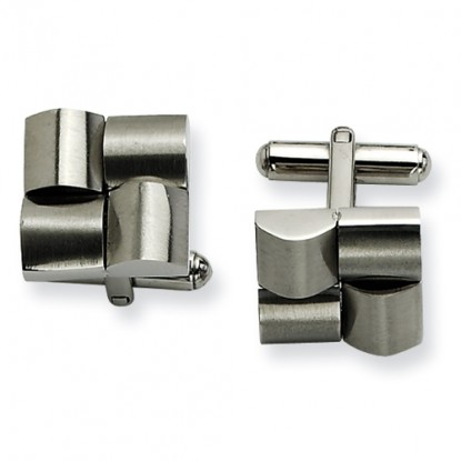 Stainless Steel Brushed Rounded Quadrant Cufflinks