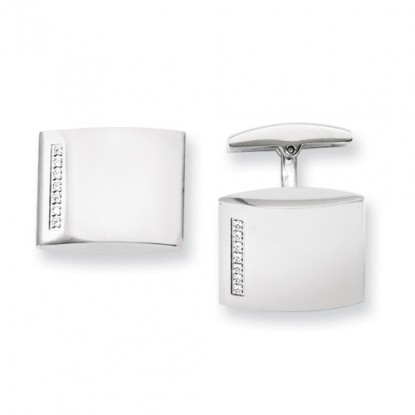 Polished Stainless Steel Cufflinks with CZ Column Beveled End - Engravable