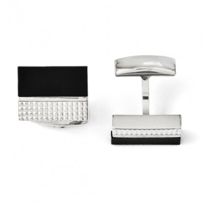 Chisel Rectangular Black Agate and Textured Stainless Steel Cufflinks