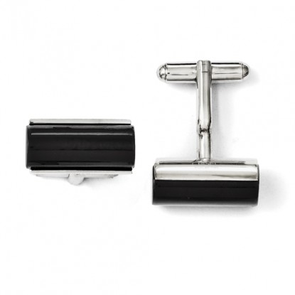 Rectangular Stainless Steel Black Agate Polished Cufflinks
