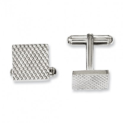 Square Chisel Stainless Steel Cufflinks with Fine Waffle Grate Texture