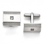 Stainless Steel CZ Cufflinks with Scored Edges