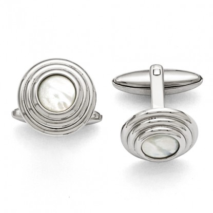Round Stainless Steel Mother of Pearl Cufflinks