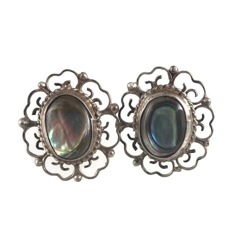 Eagle 28 Taxco Mexico Sterling Silver Abalone Back Earrings