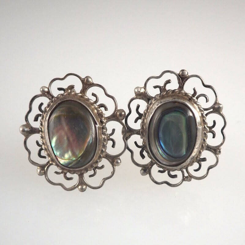 Vintage Eagle 28 Taxco Mexico Sterling Silver Abalone Earrings