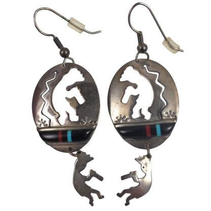 Kay Johnson Vintage Sterling Silver Black Onyx Inlay Kokopelli Earrings