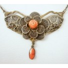 Sterling Silver Filigree Rosebud and Mini Cameo Lavalier Necklace