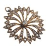 Antique 14k Gold Seed Pearl and Diamond Sunburst Pin Pendant