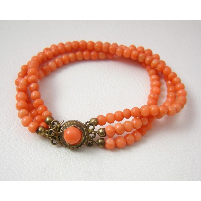 Triple Strand Genuine Coral Bead Bracelet With 800 Silver