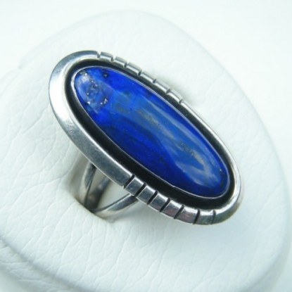 1980s Navajo Native American Indian Sterling Silver Lapis Ring - Randall R J Apacheto