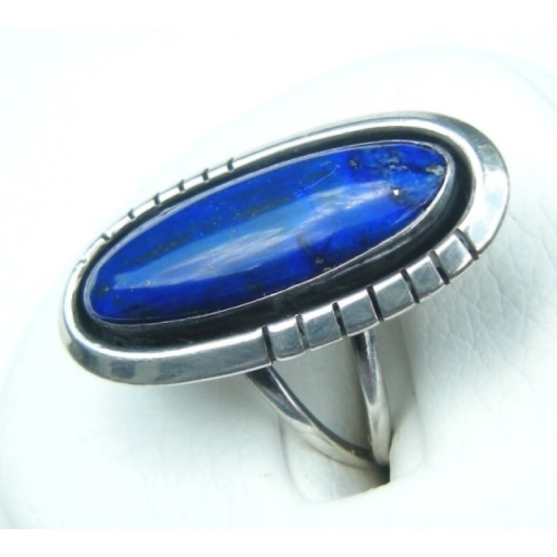 1980s Navajo Native American Sterling Silver Lapis Ring