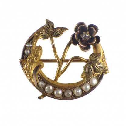 10k Antique Victorian Honeymoon Crescent Moon Pin with Diamond Flower