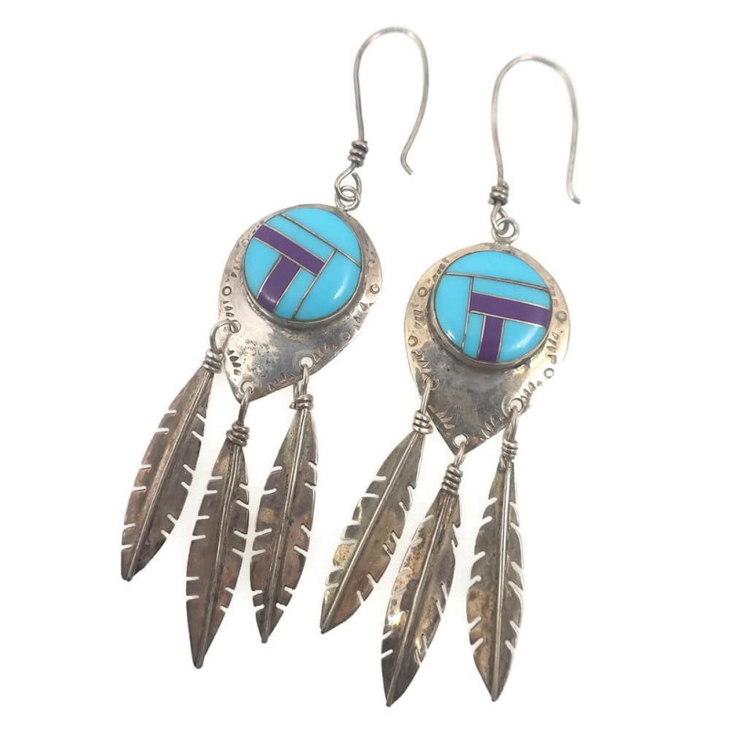 Vintage inlay sterling silver feather native american earrings for Native american feather jewelry