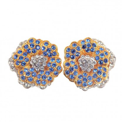 Kennedy Empress Flower Simulated Sapphire Clip Earrings