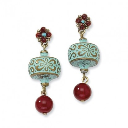 Teal Enamel Brass-Tone Earrings With Red Bead Dangle and Fancy Flower Post
