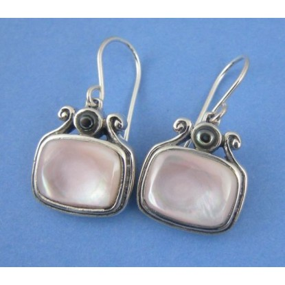 Iridescent Pink Shell Sterling Silver Earrings with Gray Shell Accent