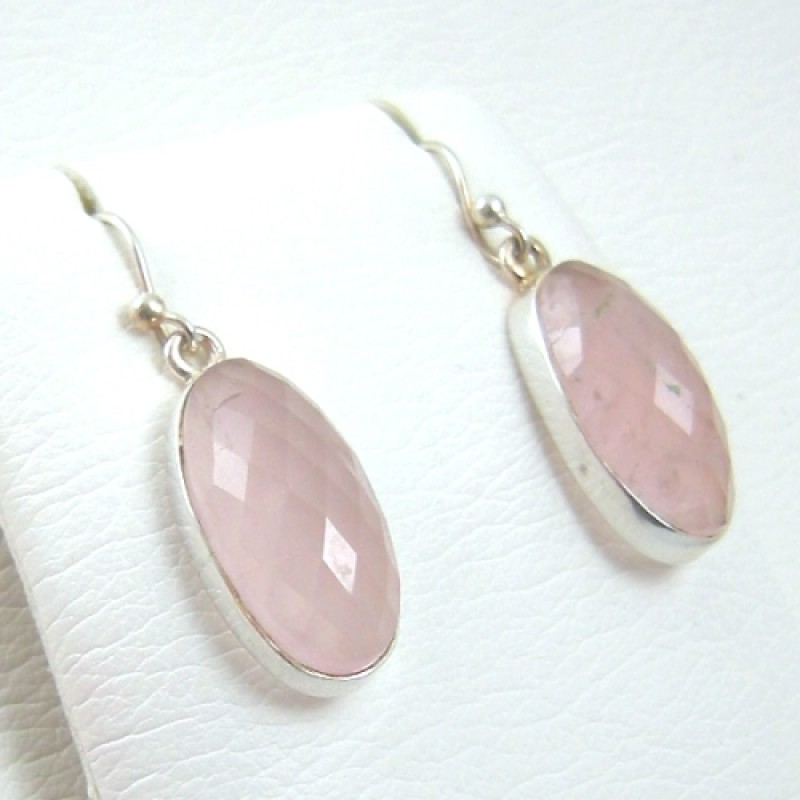 Rose Quartz French Wire Earrings