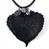 Black Dipped Cottonwood Leaf Pendant Necklace with Labradorite Charms