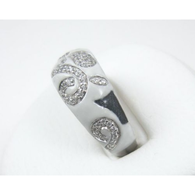 black and white enamel cz fana sterling silver ring