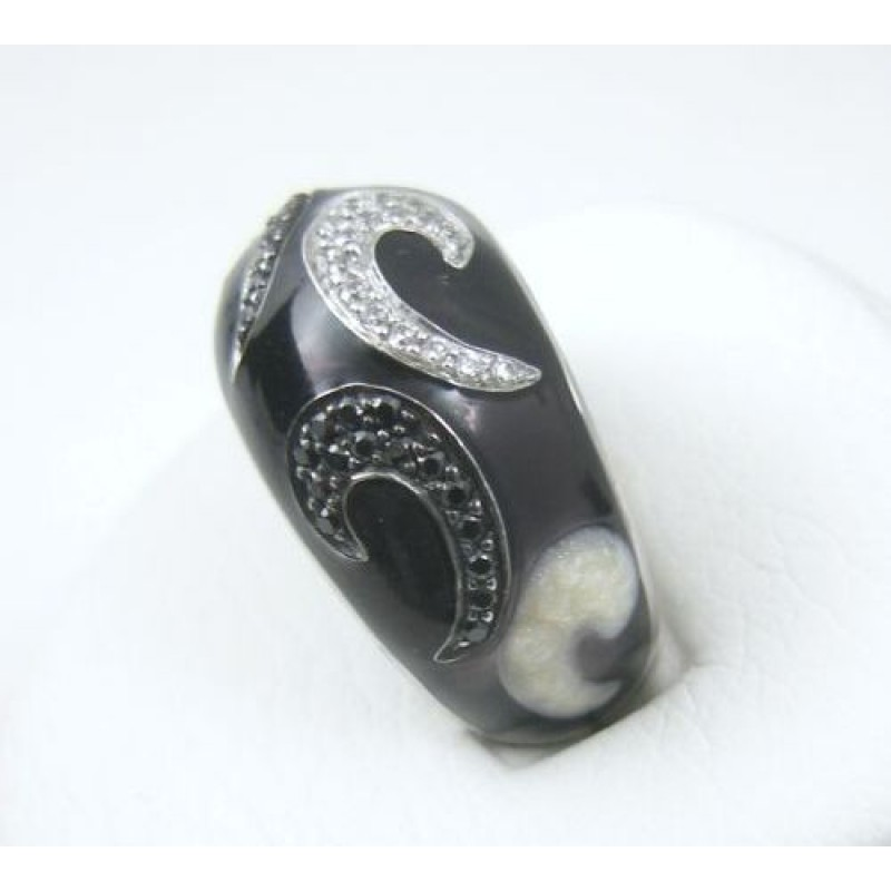 high dome black and white cz scroll enamel fana ring