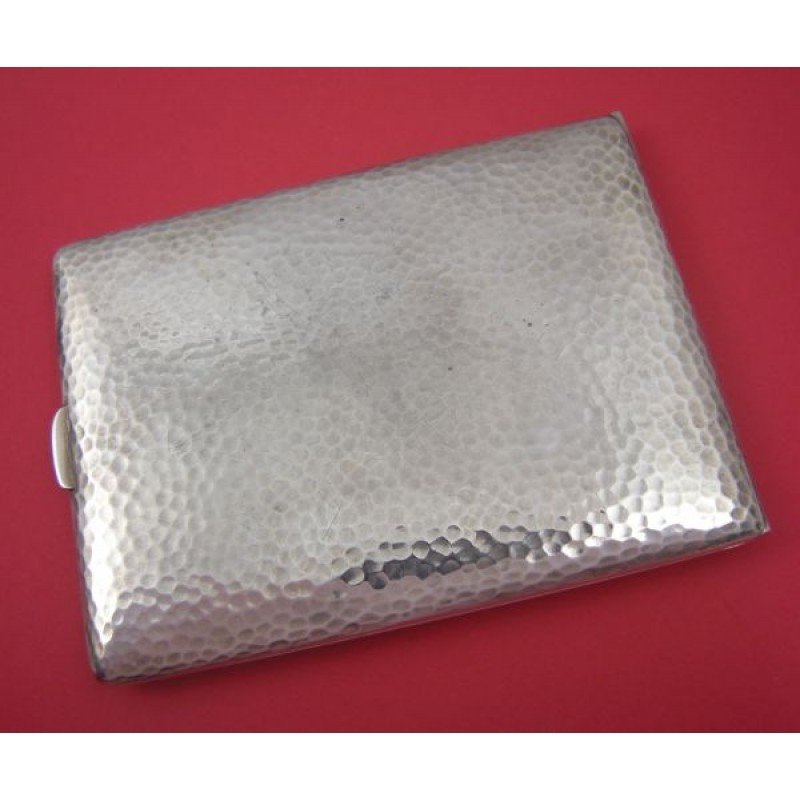 Hammered Art Deco Sterling Silver Cigarette Case