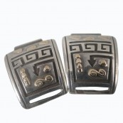 Vintage Sterling Silver Native American Watch Tips with 14k Gold Accents