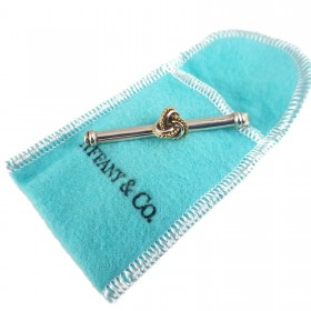 Pre-Owned Tiffany & Co Sterling Silver & 18k Gold Classic Knot Tie Clip