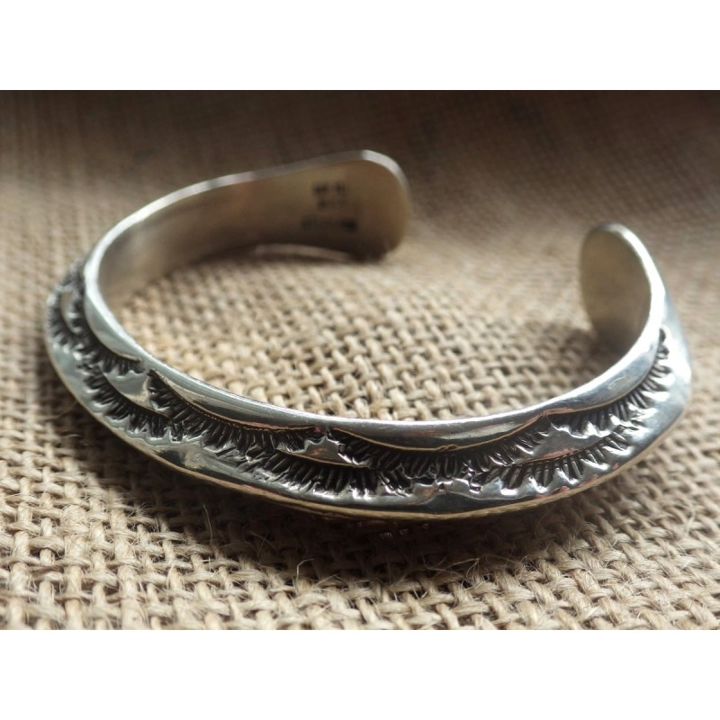 Sold Heavy Beveled Edge K M Bill Navajo Native American Sterling Silver Cuff Bracelet