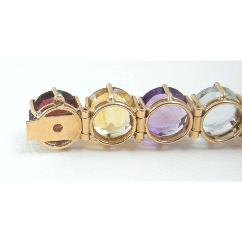 Large Pastel Rainbow Multi Gem Gemstone 14k Gold Bracelet