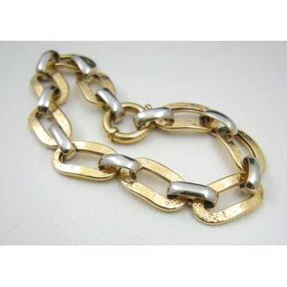Fancy Two-Tone 14k Gold Pre-Owned Cable Link Chain Bracelet