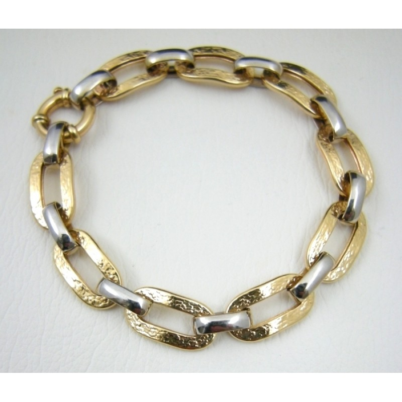 Fancy Two Tone 14k Gold Pre Owned Cable Link Chain Bracelet