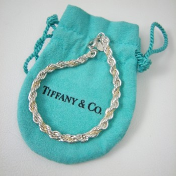 Retired Pre-Owned Tiffany & Co Sterling Silver 18kt Gold Rope Bracelet