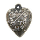 Vintage Sterling Silver Extra Puffy Key to My Heart Rebus Charm