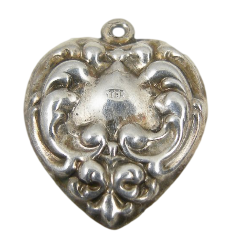 1940s Repousse Scroll Vintage Sterling Silver Puffy Heart