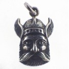 Winged Helmet Viking Man Head Vintage Sterling Silver Charm