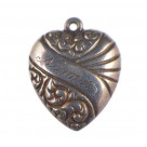 Vintage Double-Sided Scrolls and Banner Sash Puffy Heart Charm