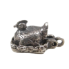 """Mechanical Hen on Nest Chicks """"No Cover Charge"""" Silver Charm Opens"""