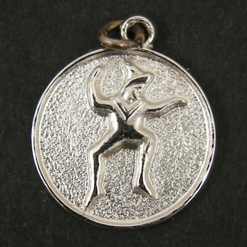 Round Vintage Girl Scout Brownie Sterling Silver Charm