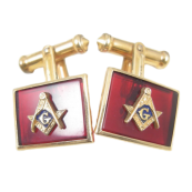 Men's Vintage Masonic Cufflinks - Gold Mason Symbol on Red Acrylic