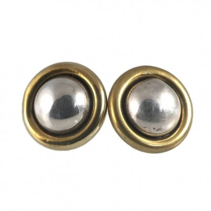 Brass and Sterling Silver Vintage Orb Post Earrings - Taxco Mexico