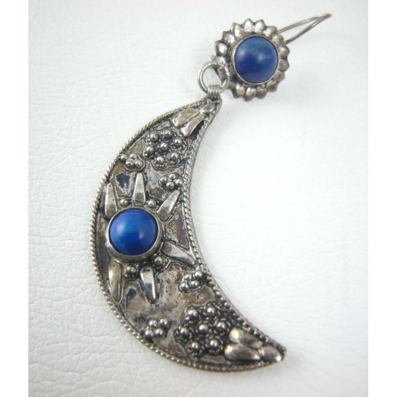 Dangle 900 Silver Crescent Blue Moon Lapis Earrings