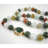 Multi-Colored Jade Bead Necklace with 14K Gold Jade Cabochon Clasp
