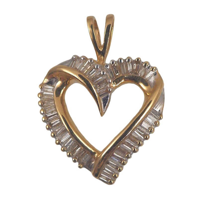 Diamond baguette 14k yellow gold heart pendant free shipping 14k gold 12 carat diamond baguette heart pendant mozeypictures Gallery