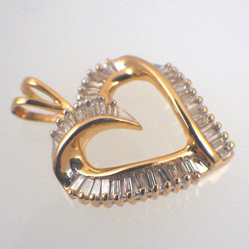 Diamond baguette 14k yellow gold heart pendant free shipping 14k gold 12 carat diamond baguette heart pendant mozeypictures Choice Image