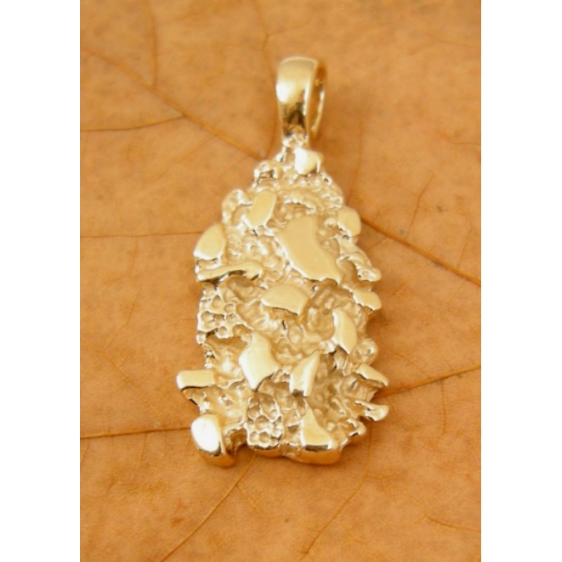 14k Yellow Gold Nugget Pendant Charm Preowned