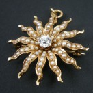 Antique 14k Gold Diamond Seed Pearl Starburst Pin Pendant Brooch