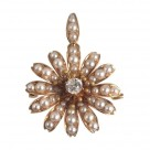 Exquisite Estate 14k Gold Diamond Pearl Flower Pin Pendant Brooch